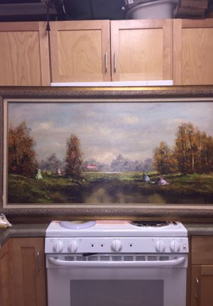Large oil on Canvas enjoying an autumn day at the pond for Sale in Germantown, MD