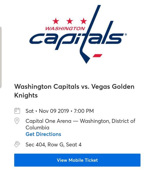 Golden knights at Washington capitals