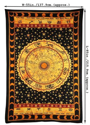 New Black Zodiac Horoscope Tapestry, Indian Astrology Hippie Wall Hanging, Ethnic Decorative Art, Celtic Zodiac Tapestry. (85 x 55) for Sale in Raleigh, NC