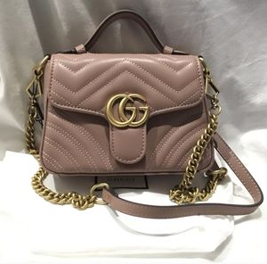 Taupe Gucci GG marmont matelasse top handle bag small for Sale in Boston, MA