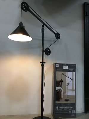 New in box 72 inches tall pulley floor lamp with led light bulb included heavy duty bronze steel finish for Sale in Montebello, CA