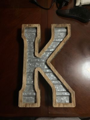 Wooden and metal letter K for decoration for Sale in Columbus, OH