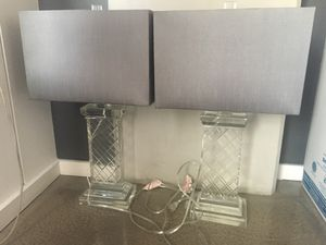 Glass Base and Grey Shaded Lamps for Sale in Las Vegas, NV