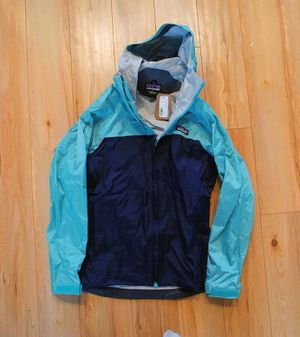 NEW Patagonia torrentshell women's XS waterproof rain jacket - new with tags- blue green hooded for Sale in Portland, OR