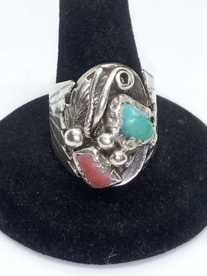 Vintage Tribal Ring Red and Green Turquoise Handmade Indian Reservation for Sale in Christiansburg, VA
