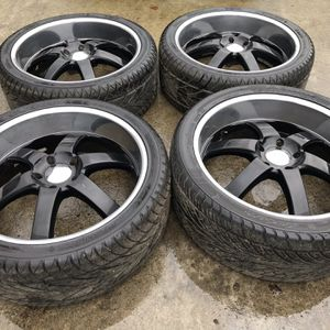 24 Inch BOSS DEEP DISH RIMS AND NEW TIRES, 5 Lug for Sale in Auburn, WA
