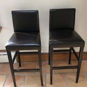 2 Leather/Wood Crate & Barrel Bar Stools for Sale in Closter, NJ