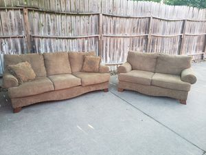 Brown Cloth Loveseat and Sofa for Sale in Houston, TX