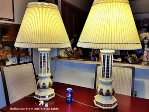 Pair Vintage Signed Fuggiti Studios Mirror Lamps (Firm) for Sale in Mount Rainier, MD