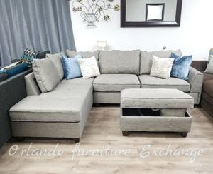 $759 WE DELIVER! BRAND NEW GREY SECTIONAL SOFA WITH OTTOMAN!!! Display for Sale in Oviedo, FL
