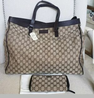 NWT GUCCI BROWN MONOGRAM LARGE TOTE BAG BROWN LEATHER TRIM for Sale in HOFFMAN EST, IL