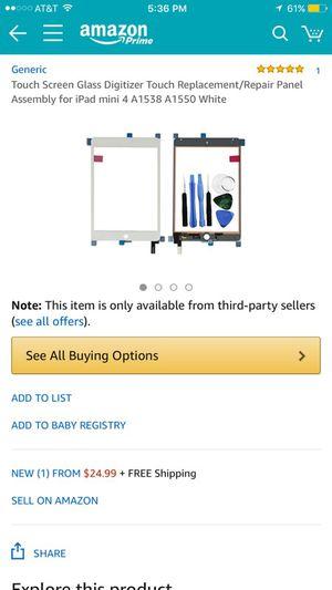 iPad mini 4 Digitizer replacement screen/tools for Sale in Phoenix, AZ