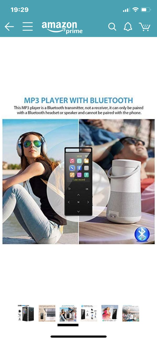 MP3 Player, 32GB MP3 Players with Bluetooth, Hi-Fi Lossless Sound Music Player with FM Radio, Voice Recorder, Pedometer, Expandable up to 128GB TF Ca