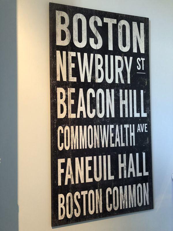 Wooden Boston sign