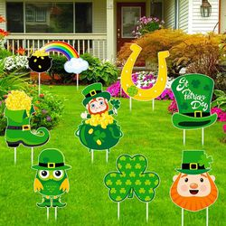 HOWAF St.Patrick's Day Yard Sign Decorations for Garden Outdoor Decor, 8pcs St Patricks Day Lawn Sign with Stakes for Irish Party Decor Props, Leprech for Sale in Tulsa,  OK