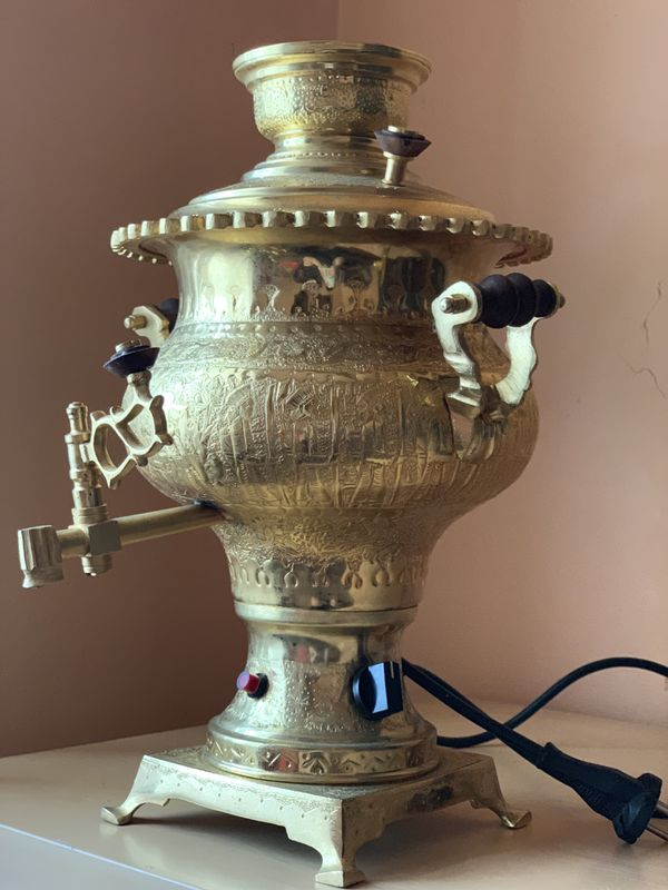 Antique Persian Gold Plated Electric Samovar