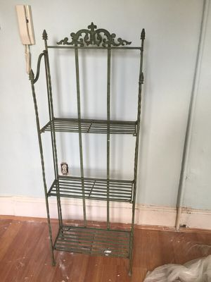 Iron shelving great condition folds for easy storage for Sale in Philadelphia, PA