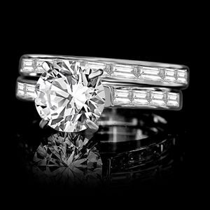 2CT intensely Radiant Round center Diamond veneer® wedding/engagement Sterling Silver ring 635R71628 for Sale in San Diego, CA
