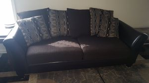 2 Sofas with leather trim and fabric cushions for Sale in La Vergne, TN