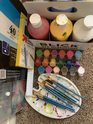 Art supplies; acrylic paint, water markers, paint brushes, color pencils, paint paper, paint tray, paints, ruler for Sale in Oceanside, CA