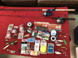 Fishing Tackle Lot with 2 Reels and Rods for Sale in West Palm Beach, FL