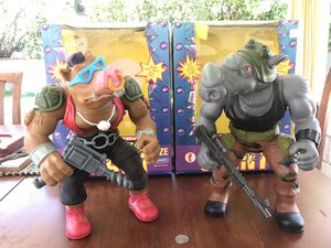 "1991 Playmates Teenage Mutant Ninja Turtles TMNT Giant Size (13"") Bebop and Rocksteady Action Figures for Sale in Ontario, CA"