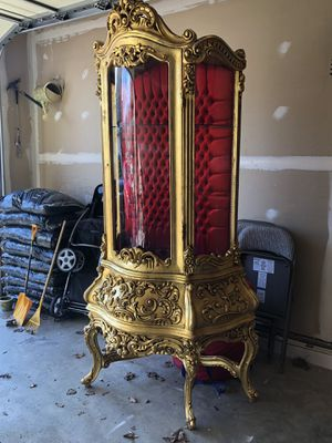 Large Louis XV French Style Glass Door Solid wood Curio Cabinet Vitrine Display with velvet padding for Sale in Gainesville, VA