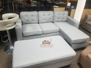 Brand New Light Grey Linen Sectional Sofa Couch + Ottoman for Sale in Falls Church, VA