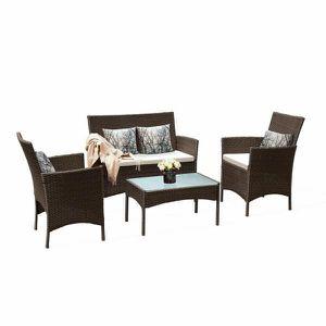 4-Piece Wicker Patio Conversation Set Outdoor Garden Furniture Rattan with White Cushions for Sale in San Gabriel, CA