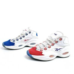 Pre Owned, Reebok Question Mid Double Cross Mens Size 6 Shoes, FV7563 Allen Iverson, Red White Blue for Sale in Seattle,  WA