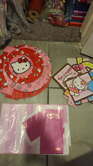 HELLO Kitty party supply cupcake holder bday sign and backdrop for Sale in Moreno Valley, CA