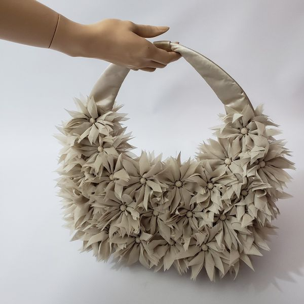 Timmy Woods Flower Hobo Bag Beige