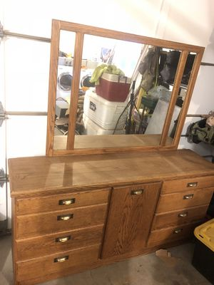 Solid oak dresser with mirror for Sale in OR, US