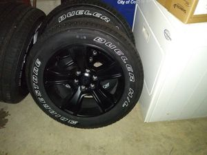 """20"""" rims new tires 275/55/20 is the tires size they are gloss Blk $550 for the set for Sale in Bexley, OH"""