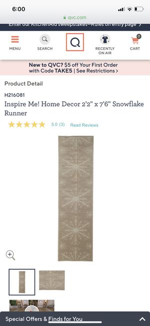 "Inspire Me! Home Decor 2' 22 X 7' 6"" Snowflake Runner for Sale in Pasadena, TX"