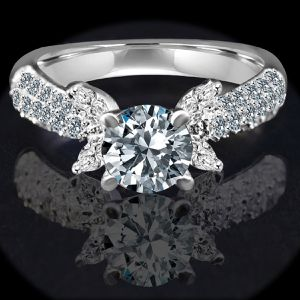 .75 CT. Round Centered simulated Diamond - Diamond Veneer Engagement Sterling Silver Ring. 635R3228 for Sale in San Francisco, CA