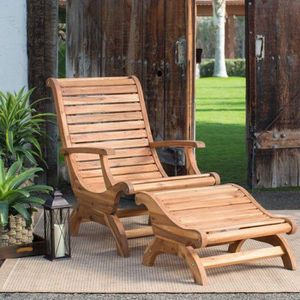 Adirondack Chair Ottoman Set Wood Patio Furniture Footrest Deck Recliner Garden Backyard for Sale in Chicago, IL