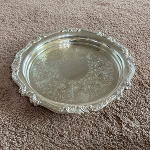 """Sheridan Taunton Silversmiths Ltd EP Brass Silver Plate Serving Tray 12"""" Etched for Sale in Manassas, VA"""