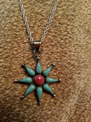 Sterling silver chain with turquoise sunburst for Sale in Dallas, TX