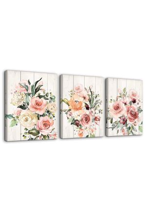 Beautiful Flowers Canvas Prints, 12x16 (3) Panels. Home Decor Bathroom Wall Art Canvas Framed Wall Art, Farmhouse, Modern, Traditional. Kitchen for Sale in Chino Hills, CA