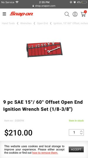 9 piece Open end ignition set snap on tools for Sale in Denver, CO