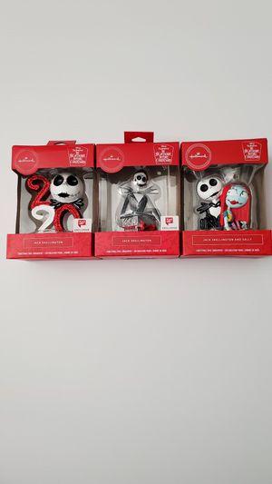 Hallmark Disney Nightmare Before Christmas Ornament Jack Skellington and Sally set of 3 for Sale in Fontana, CA