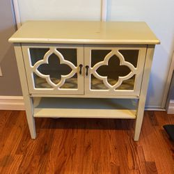 Heather Ann Creations Modern 2 Door Accent Console Cabinet with 4 Pane Clover Glass Insert and Bottom Shelf Beige/White Trim for Sale in Huntington Station,  NY