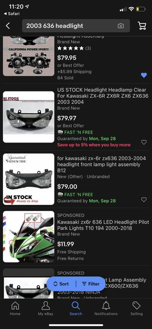 2003 zx636 Smoked Headlight for Sale in Anaheim, CA