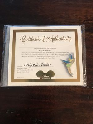 New Disney's Tinkerbell DMC Limited Edition Trading Pin & Certificate for Sale in Cypress, TX