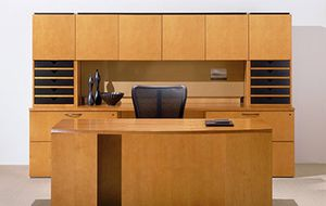 Executive Office Desk - Global Priority Design with arch front, credenza, modesty bridge panel, high back organizer hutch for Sale in Springfield, VA