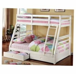 Twin Over Full Bunk bed With 2 Storage Drawers In White Finish for Sale in Ontario,  CA