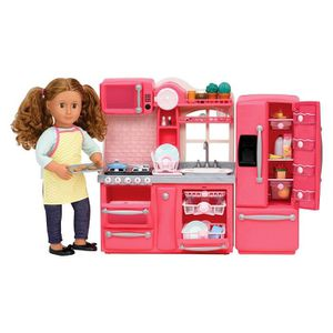 Our Generation Gourmet Kitchen Accessory Set - Pink 78pc Kitchen Accessory Playset for 18-inch dolls Includes kitchen unit with appliances, dishes, for Sale in Arcadia, CA