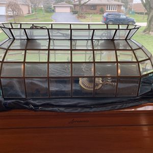 Vintage Clear Bronze / Glass Pool Table Pendant Light for Sale in Orland Park, IL