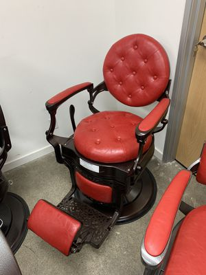 BarberPub Heavy Duty Metal Vintage Barber Chair All Purpose Hydraulic Recline Salon Beauty Spa Chair Styling Equipment 3849 Red for Sale in Los Angeles, CA